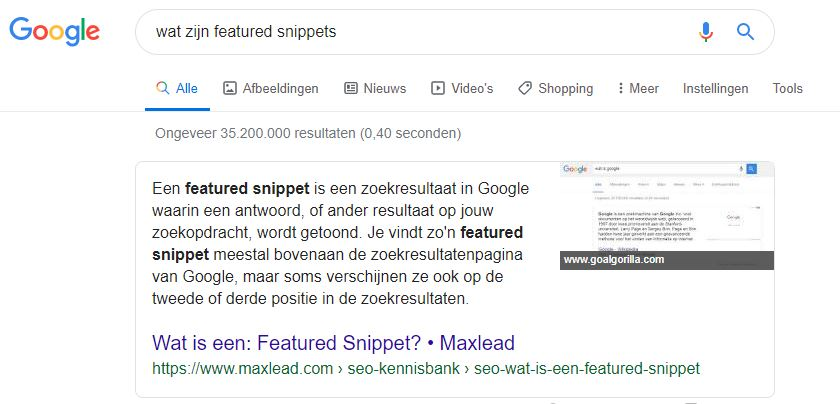 featured snipped in de Google-zoekresultaten